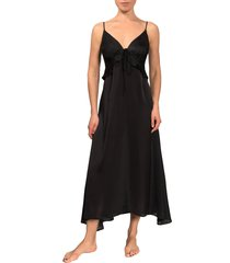 women's everyday ritual empire ruffle satin nightgown, size x-small - black