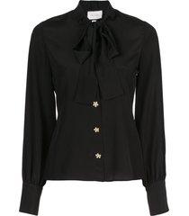 alexis aruca pussy bow shirt - black