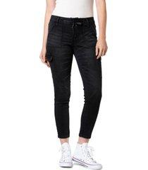 blue desire juniors' tie-waist cargo skinny ankle jeans