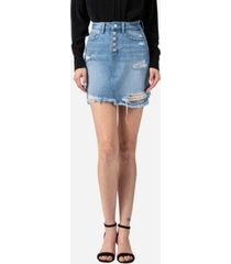 vervet women's distressed button up fray hem skirt