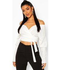 off the shoulder oversized sleeve crop top, ivory