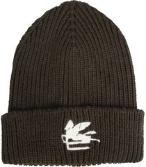 etro wool hatwool hat with logo embroidered