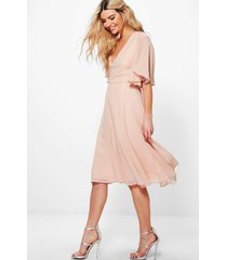 chiffon angel sleeve midi skater bridesmaid dress, blush