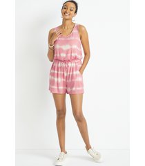maurices womens 24/7 pink tie dye romper