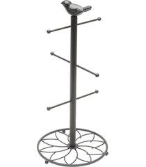 suporte para toalhas de ferro pintado preto 18x39cm lyor