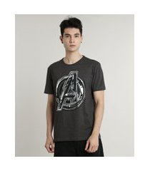 camiseta masculina os vingadores metalizada manga curta gola careca cinza mescla escuro