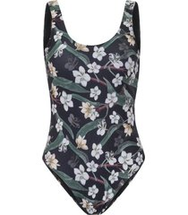 amaro feminino maiô basic decote costas, frange flower preto
