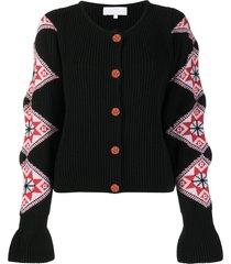 ami amalia intarsia-sleeves ribbed cardigan - black