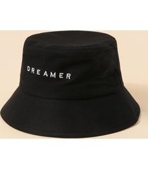 brief embroidery dreamer letter bucket hat