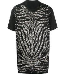 balmain crystal-embellished zebra t-shirt - black