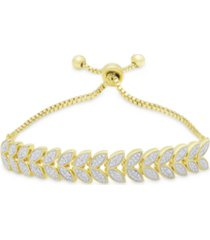 diamond accent leaf bolo adjustable bracelet in fine gold plate or silver plate