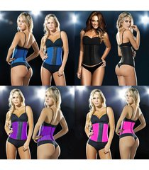 2016 new women latex rubber waist training body shaper cincher underbust corset
