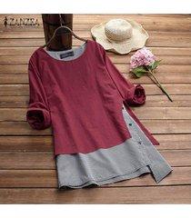 zanzea mujeres cuello redondo suéter superior tee camisa de tela escocesa check plus tamaño túnica de la blusa -rojo