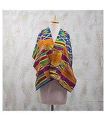 cotton blend kente cloth scarf, 'fathia beauty' (17 inch width) (ghana)