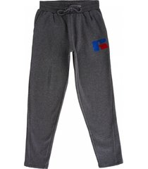 russell athletic open hem track pants - charcoal marl pc86042-098