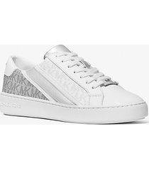 mk sneaker slade in pelle con riga e logo - bianco/argento (bianco) - michael kors