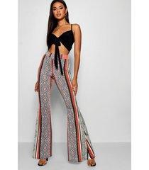 bohemian slinky uitlopende broek met hoge taille, salie