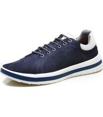 sapatenis calvest supertech em couro e atacador nbk/fly – 3940d377 azul-marinho - azul marinho - masculino - dafiti