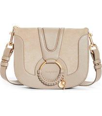 see by chloe hana suede & leather shoulder bag - grey