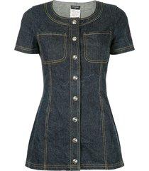 chanel pre-owned shortsleeved denim mini dress - blue