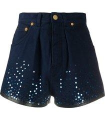 alberta ferretti sequin embellished shorts - blue