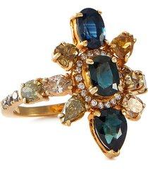 'galaxy' diamond sapphire 18k gold ring