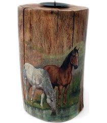 świecznik drewniany pieniek konie