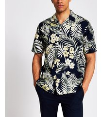 mens jack and jones navy tropical print shirt