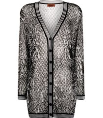 missoni semi-sheer patterned long-line cardigan - black