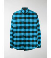 balenciaga plaid check buttoned shirt
