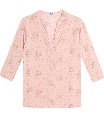 blusa manga 3/4 estampado mini flores color rosado, talla l