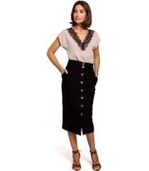 blouse style s206 mouwloze top met kanten halslijn - zwart