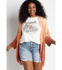 maurices plus size womens sunset ombre fringe cardigan