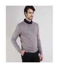 suéter masculino em tricô gola careca cinza mescla