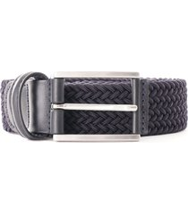 anderson's leather trimmed woven stretch belt | navy | b0667 ne37 b1