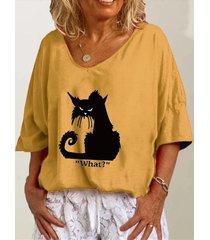 camicetta casual da donna con maniche a 3/4 con scollo a v con stampa a lettere di gatto