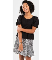 franki puff sleeve babydoll top for girls - black
