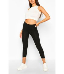 deep high waist cropped legging, black