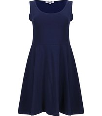 vestido hombro ancho unicolor color azul, talla s