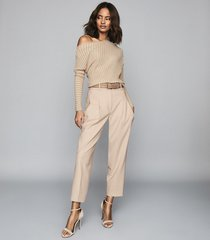 reiss soffie - striped off-the-shoulder top in nude, womens, size xl