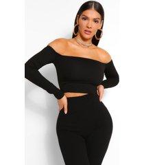 bardot long sleeve corset top, black