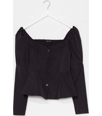 womens keep 'em sweetheart puff sleeve button-down blouse - black