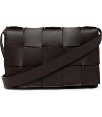 cassette leather woven shoulder bag