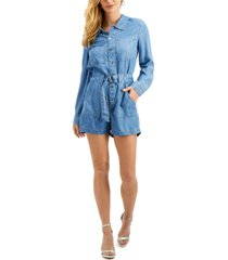 guess button-down belted romper