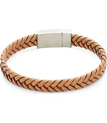 stainless steel & woven leather bracelet