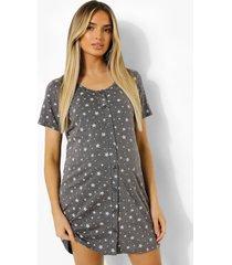 zwangerschap sterrenprint nachtjapon met knopen, dark grey
