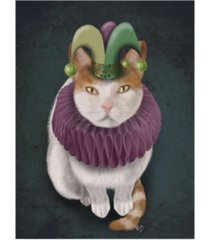 """fab funky cat, white with jester hat canvas art - 19.5"""" x 26"""""""