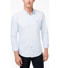 tommy hilfiger men's new england stripe custom-fit shirt, created for macy's