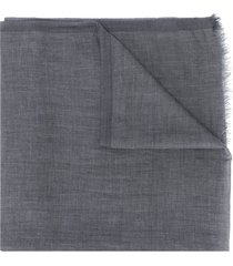 brunello cucinelli frayed trim scarf - grey