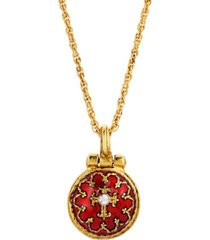 14k gold-dipped red enamel enclosed virgin mary lift up pendant necklace